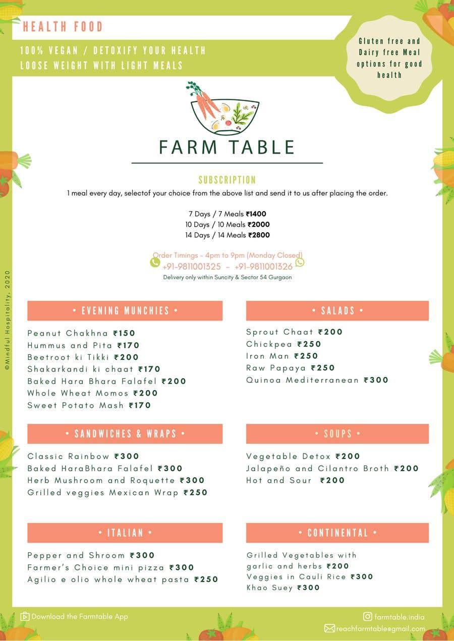 Kilpailutyö #                                        4                                      kilpailussa                                         Design a Health Food Menu Card for Farmtable Restaurant