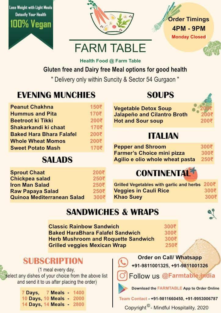 Kilpailutyö #                                        17                                      kilpailussa                                         Design a Health Food Menu Card for Farmtable Restaurant