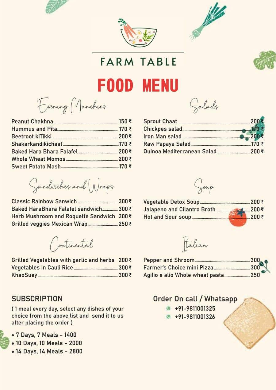 Kilpailutyö #                                        30                                      kilpailussa                                         Design a Health Food Menu Card for Farmtable Restaurant