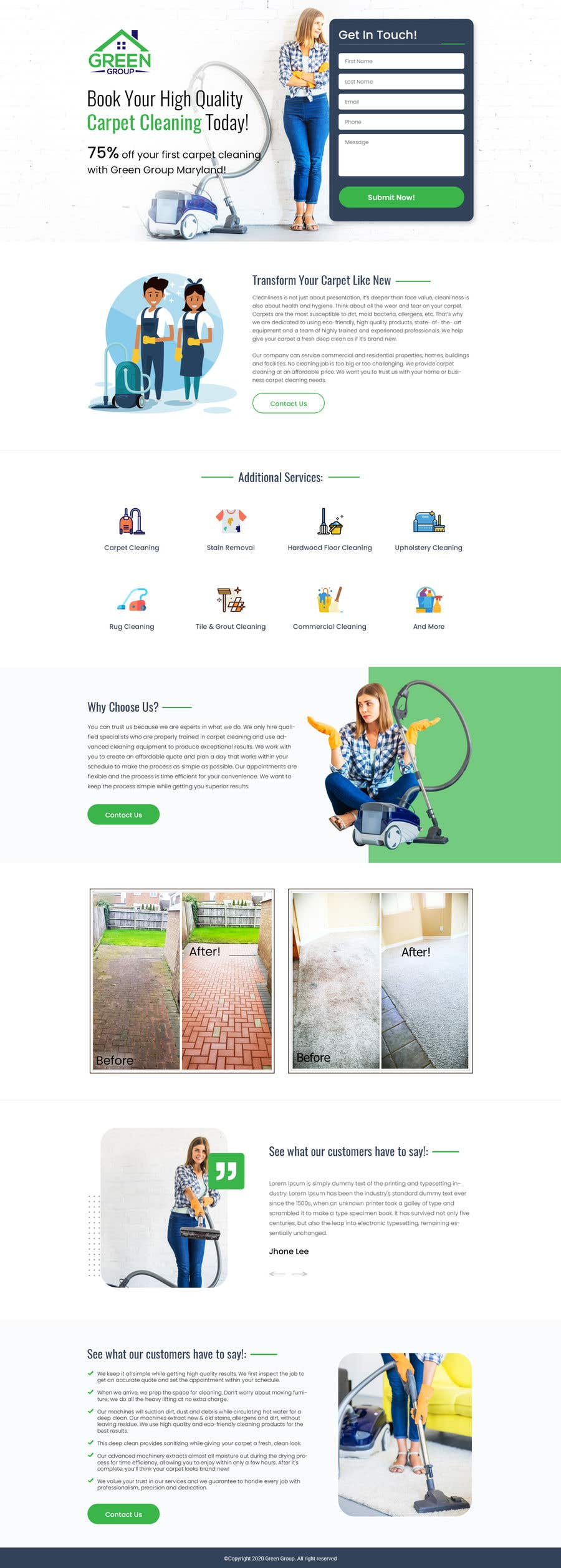 Contest Entry #                                        9                                      for                                         Landing page for carpet cleaning