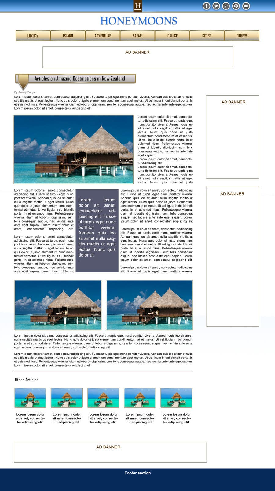 Penyertaan Peraduan #                                        44                                      untuk                                         Website Design for Honeymoons website