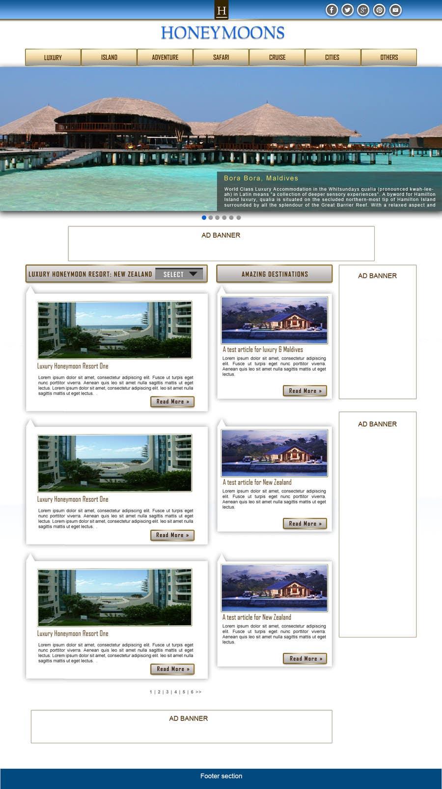 Penyertaan Peraduan #                                        45                                      untuk                                         Website Design for Honeymoons website