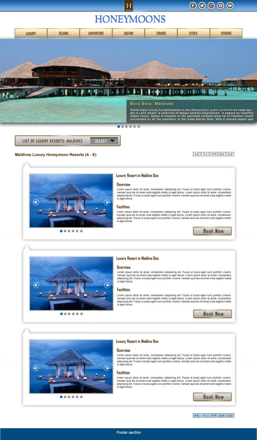 Penyertaan Peraduan #                                        47                                      untuk                                         Website Design for Honeymoons website
