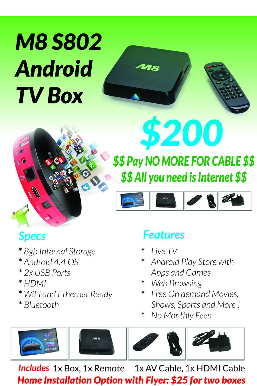 """Contest Entry #                                        4                                      for                                         Design a simple 4"""" x 6"""" Flyer for Android TV Boxes"""