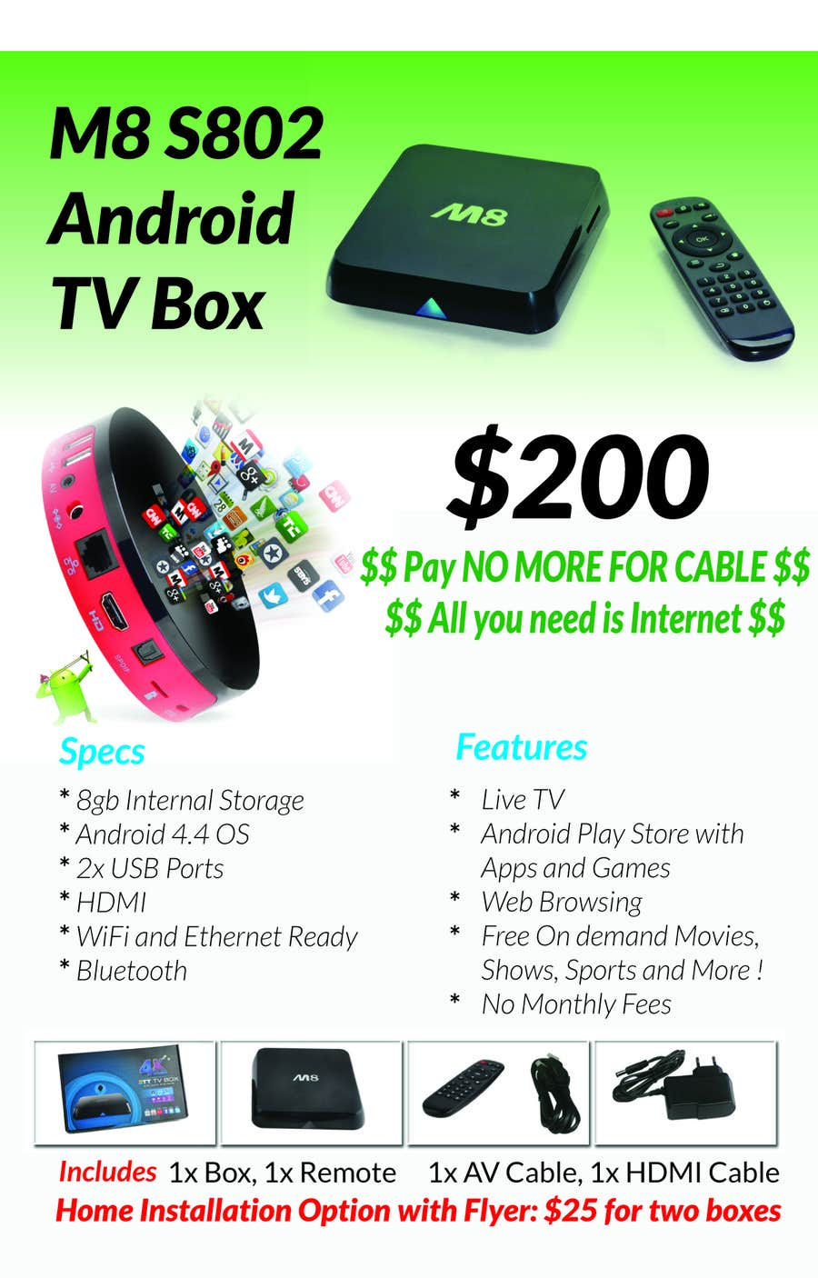 """Konkurrenceindlæg #                                        5                                      for                                         Design a simple 4"""" x 6"""" Flyer for Android TV Boxes"""