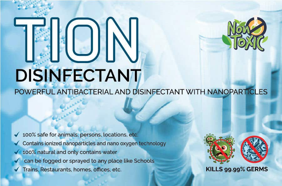 Proposition n°                                        22                                      du concours                                         Label  design with illustration for a disinfectant with nanoparticles