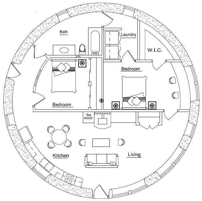 Wettbewerbs Eintrag #                                        2                                      für                                         Architect's Design for a 2-bedroom Round, Grass Thatched House