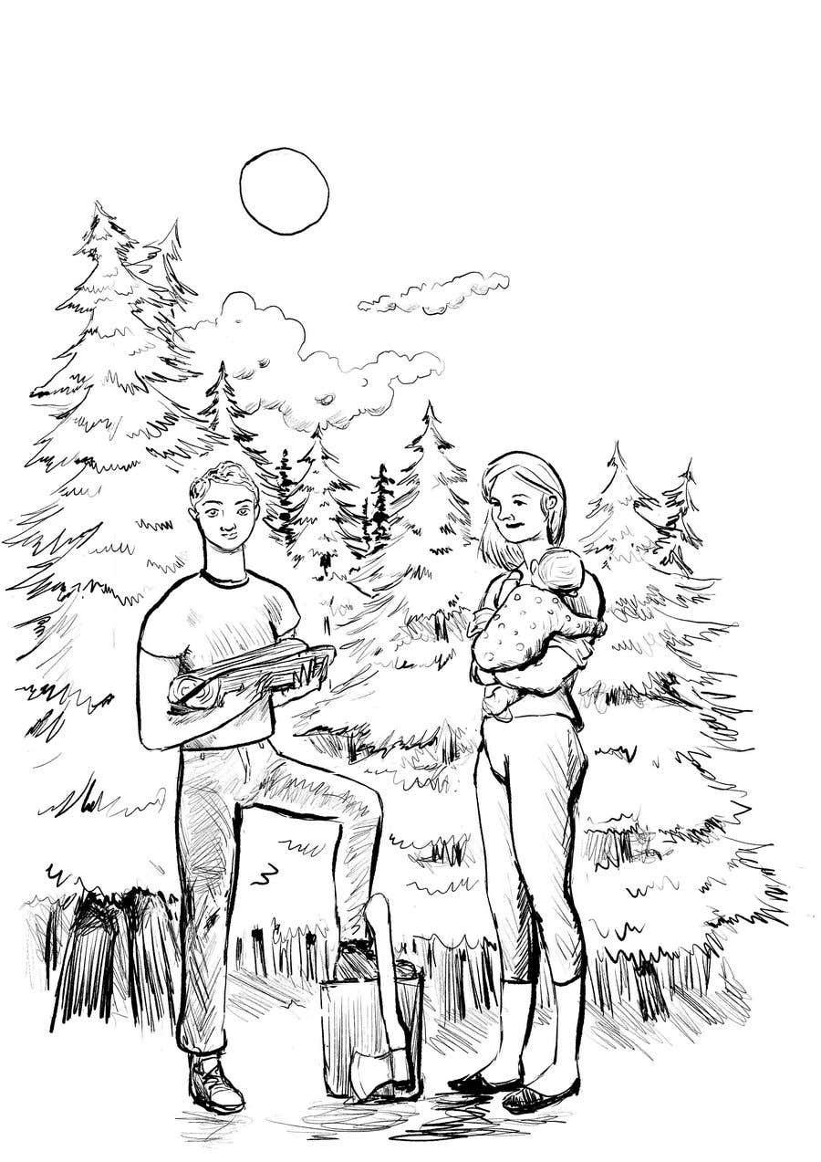 Bài tham dự cuộc thi #                                        7                                      cho                                         Family at wood splitting line drawing