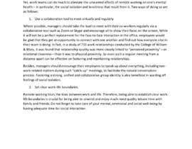 """Nro 31 kilpailuun Article on """"Social isolation due to remote working"""" käyttäjältä aaronlowcy"""