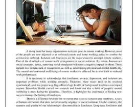 """Nro 43 kilpailuun Article on """"Social isolation due to remote working"""" käyttäjältä uzclover"""