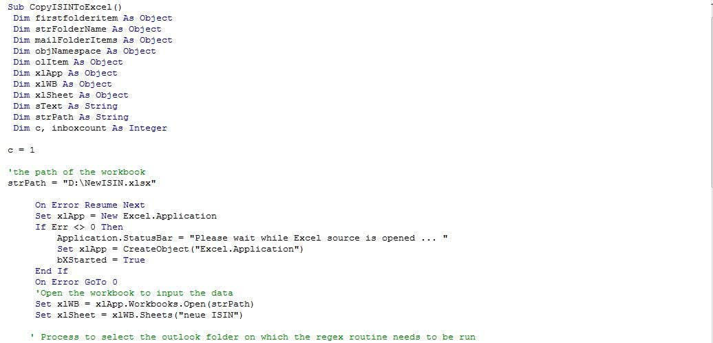 Inscrição nº                                         3                                      do Concurso para                                         Outlook/Excel routine to extract a regex from every email in a folder