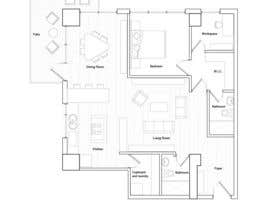 #19 for Floor plan/interior ideas for sub-penthouse condo (1000sq feet) by malipz
