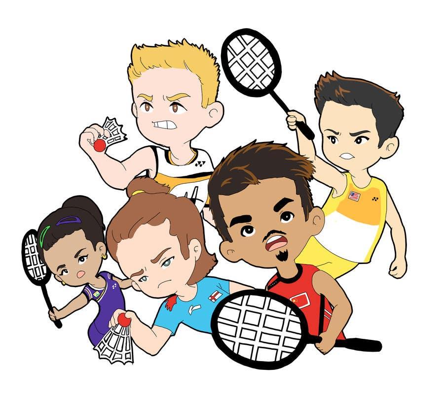 Proposition n°                                        21                                      du concours                                         Design a T-Shirt for Parody Avengers, Badminton, Chibi style