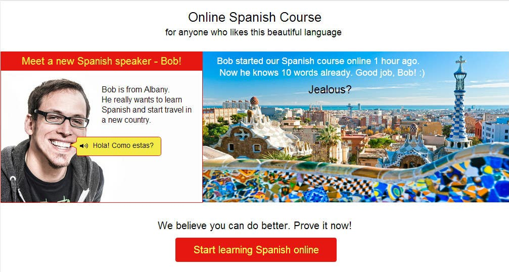 Contest Entry #                                        9                                      for                                         Online Spanish Course - Landing Page