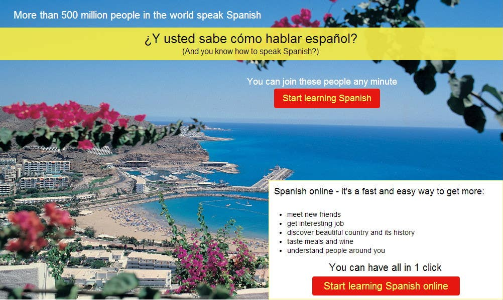 Contest Entry #                                        11                                      for                                         Online Spanish Course - Landing Page