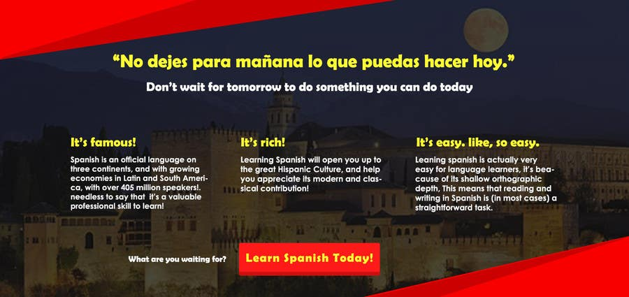 Contest Entry #                                        3                                      for                                         Online Spanish Course - Landing Page