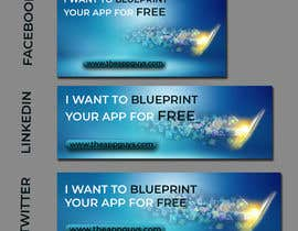 """#18 untuk A banner for my profiles that says """"I want to blueprint your app for free!"""". Make it interesting and clean. The final files must be sized for Facebook, LinkedIn and Twitter. Also include the company web address: theappguys.come oleh SumayaNaznin"""
