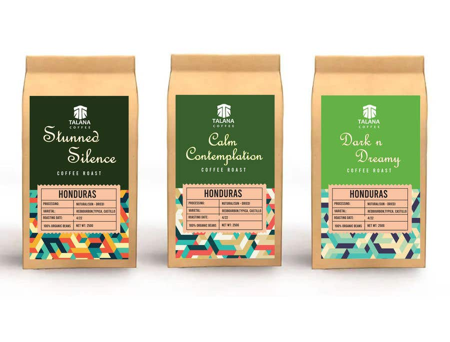 Kilpailutyö #                                        129                                      kilpailussa                                         Talana Coffee package label design