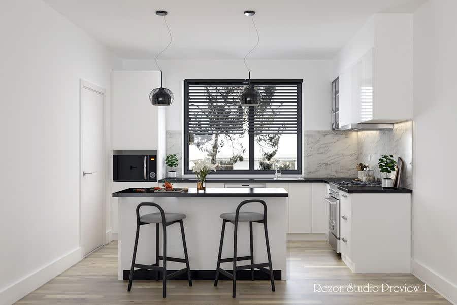 Proposition n°                                        13                                      du concours                                         3D rendering kitchen, bathroom.