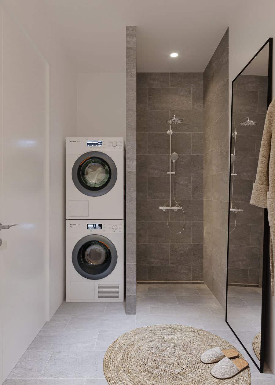 Proposition n°                                        54                                      du concours                                         3D rendering kitchen, bathroom.