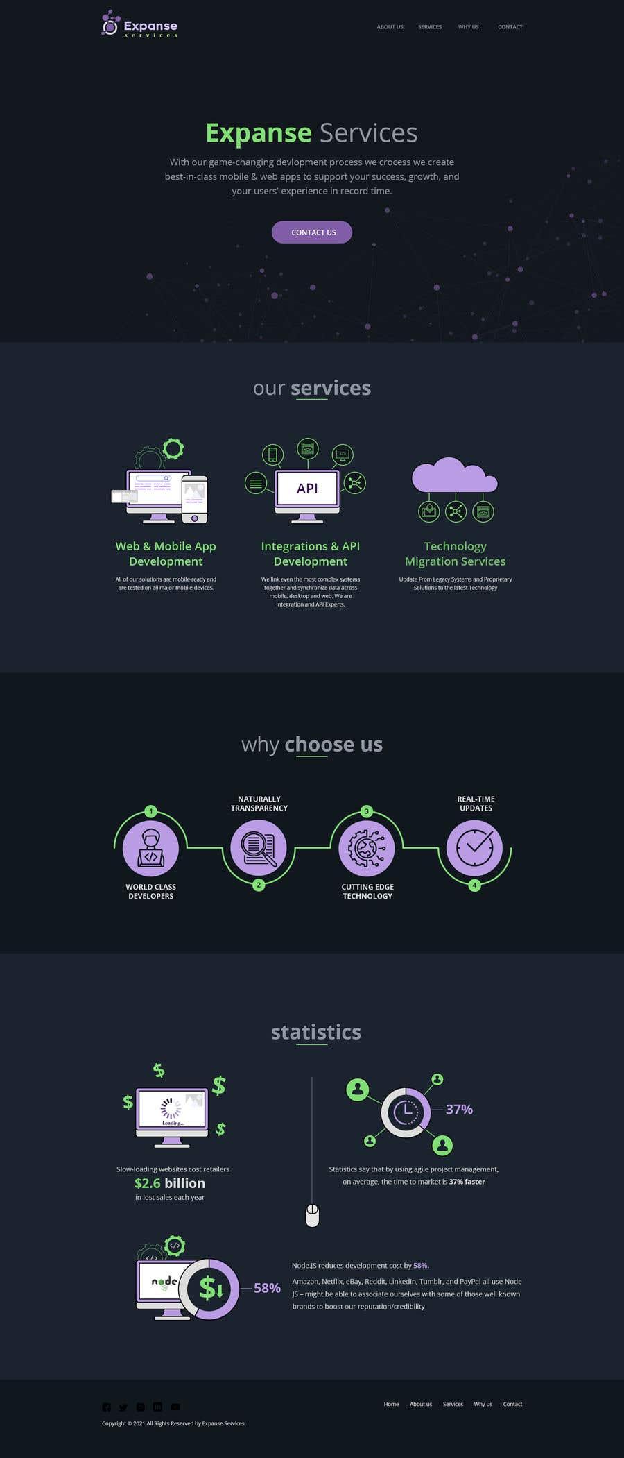 Proposition n°                                        45                                      du concours                                         Infographic / Landing Page Statistics Section - Graphic Design/Web Design - Expanse Services - Software Development Company