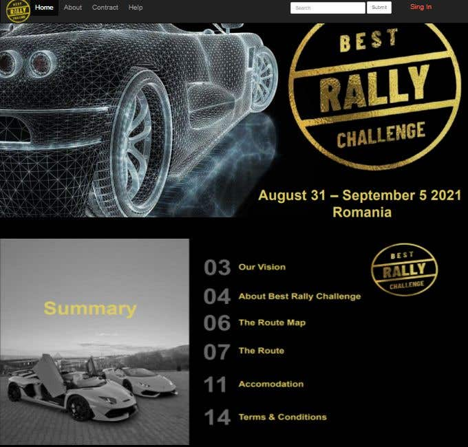 Contest Entry #                                        9                                      for                                         Best Rally Challenge