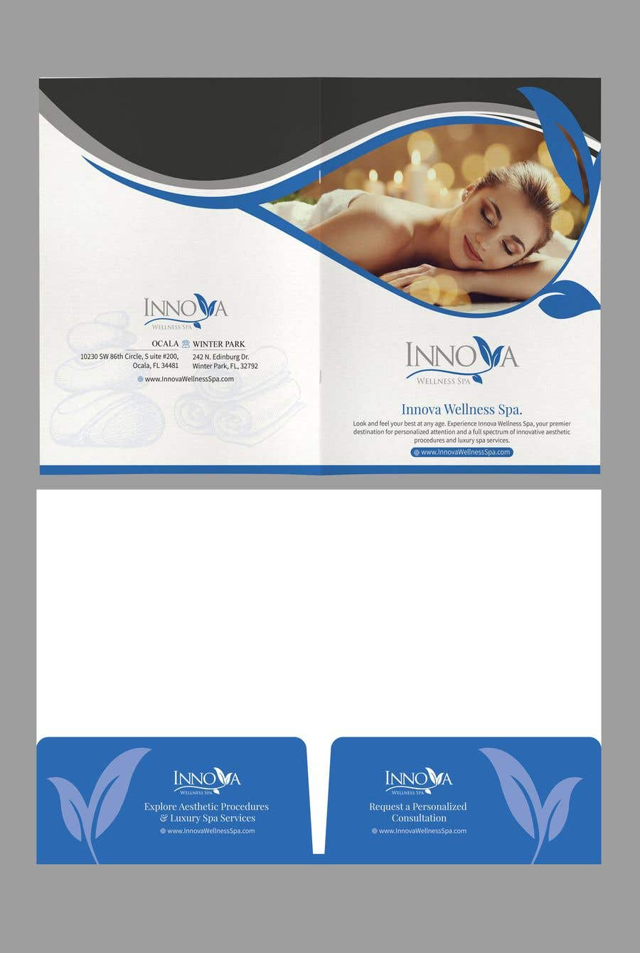 Contest Entry #                                        32                                      for                                         Design a Folder for a high end medical spa