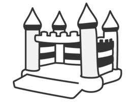 #12 para Design a gray scale flat icon illustration of a bouncy castle. por zzzabc