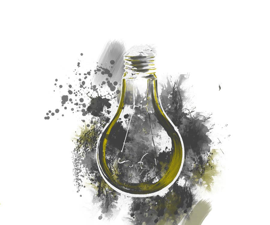 Contest Entry #                                        25                                      for                                         Design an light bulb in an abstract modern hand drawing style