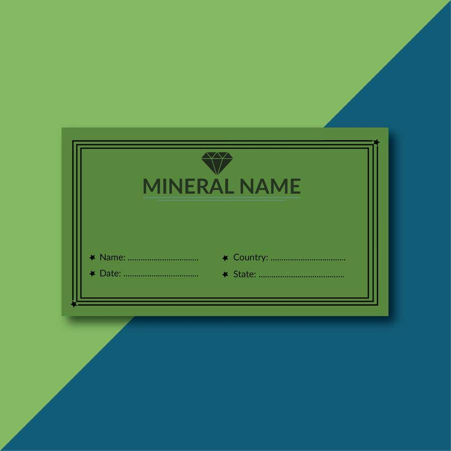 Bài tham dự cuộc thi #                                        96                                      cho                                         I need a simple template for a mineral label which is like a business card like card for identifying minerals like a name-tag