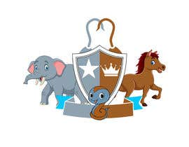 #14 para Coat of Arms logo using elephant on the left, horse on the right.  a chicken in the middle, and a cute looking snake somewhere (part of the 4 squares) or at bottom? This logo is for a kids brand.  Pastel Water color is preferable. por sabbir12608