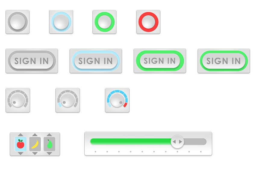 Bài tham dự cuộc thi #                                        21                                      cho                                         Graphic Design , an Icon set images to make GIF based animated UX Buttons.