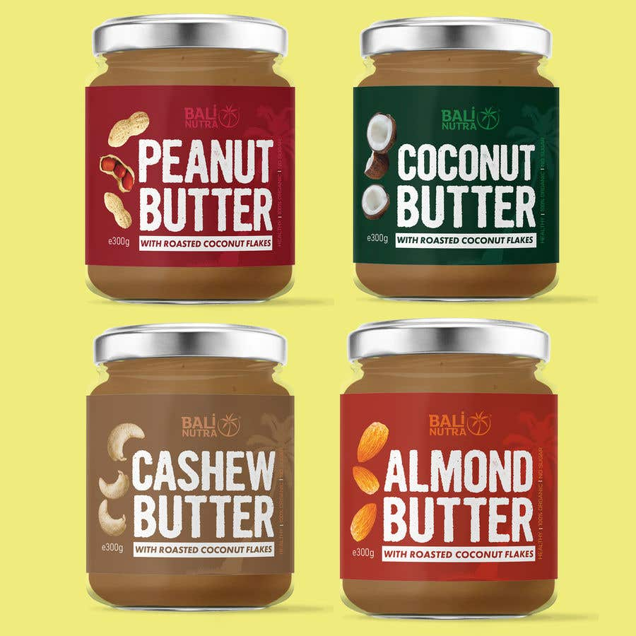 Konkurrenceindlæg #                                        55                                      for                                         Food Label design (4 x flavors of Butter, Almond, Peanut, Cashew, Original)