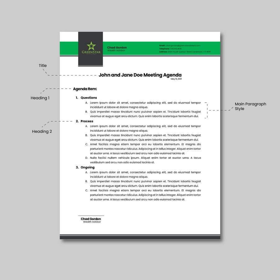 "Penyertaan Peraduan #                                        12                                      untuk                                         Design a Letterhead, Agenda, Microsoft Word ""Style Set"""