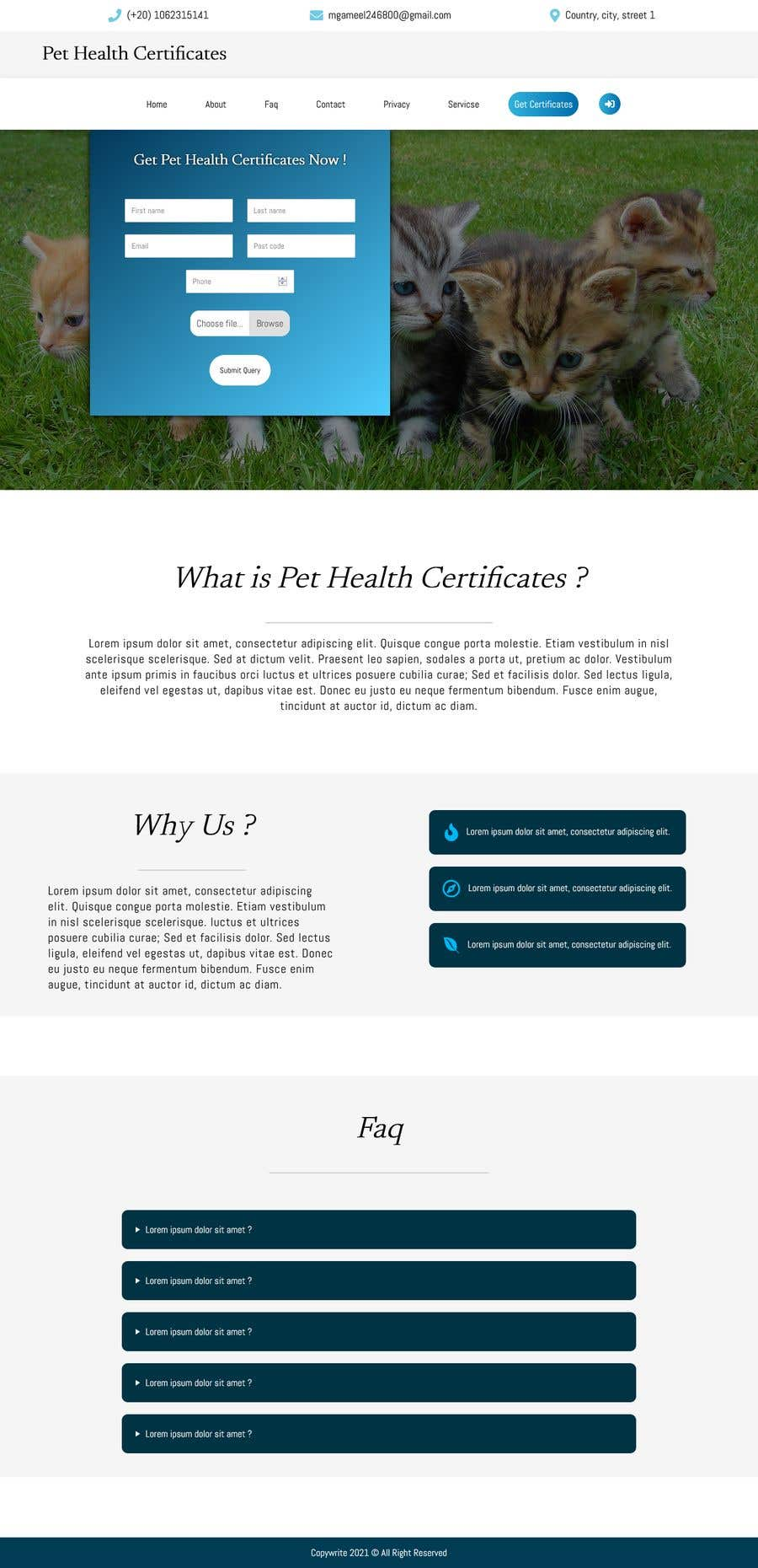 Kilpailutyö #                                        1                                      kilpailussa                                         Create a website mockup for a business that offers pet health certificates