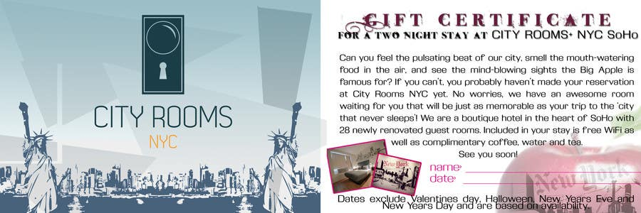 Contest Entry #                                        12                                      for                                         Design a Gift certificate fot a Hotel stay for 2 nights