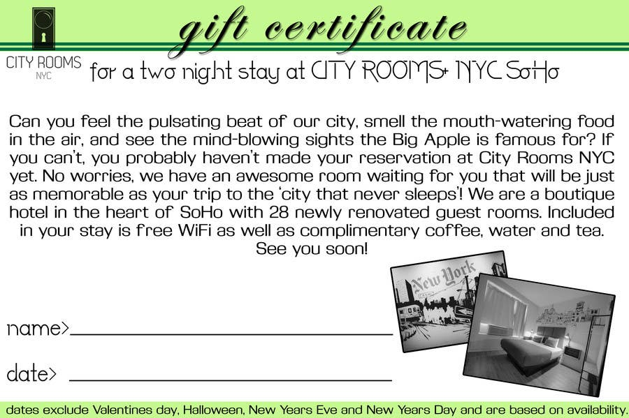 Contest Entry #                                        18                                      for                                         Design a Gift certificate fot a Hotel stay for 2 nights