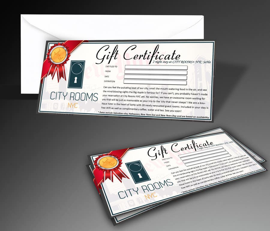 Contest Entry #                                        10                                      for                                         Design a Gift certificate fot a Hotel stay for 2 nights