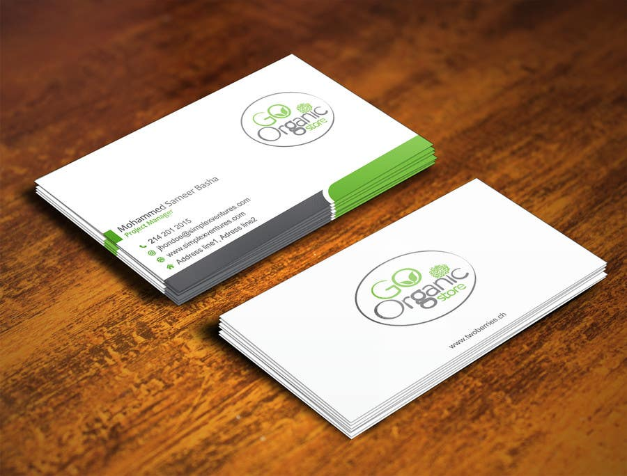 Contest Entry #                                        29                                      for                                         Design some Business Cards for Go Organic Store