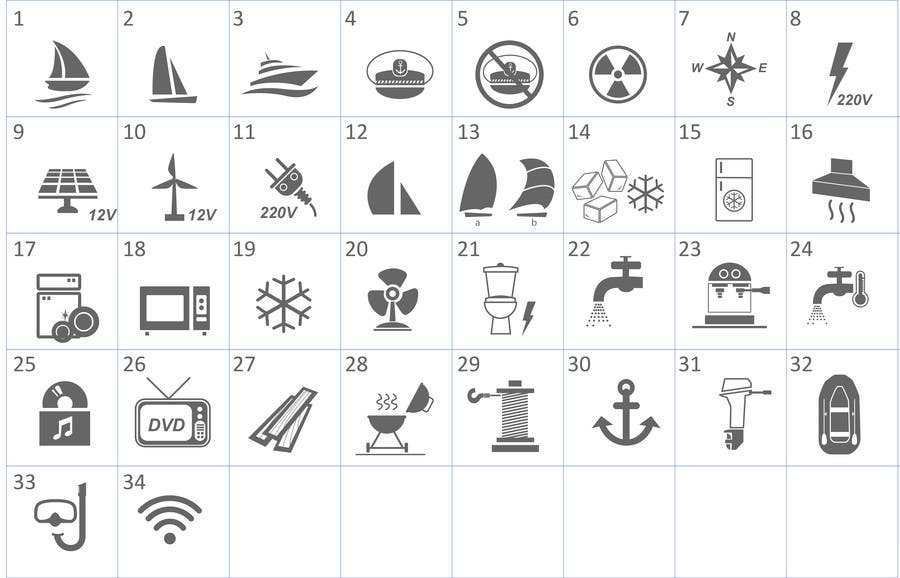 Proposition n°                                        8                                      du concours                                         Pictograms for a Boat Booking Website