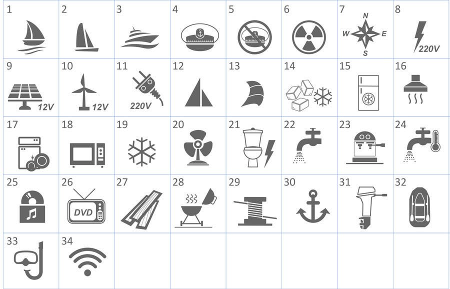 Proposition n°                                        15                                      du concours                                         Pictograms for a Boat Booking Website
