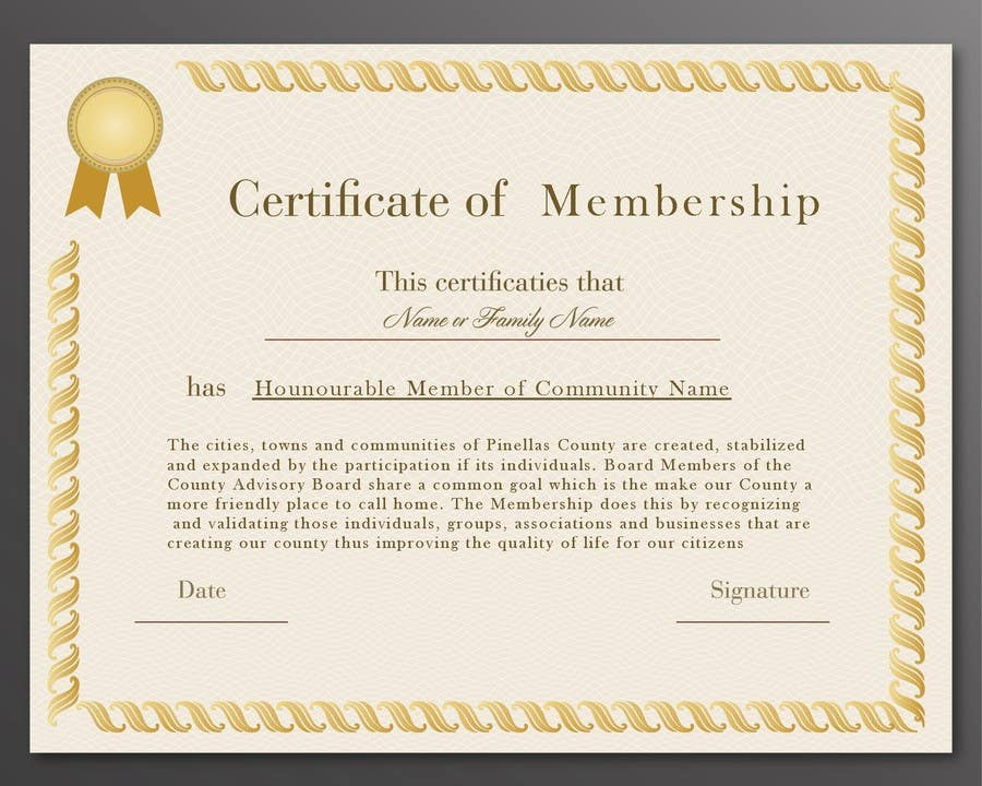 Design a membership certificate | Freelancer