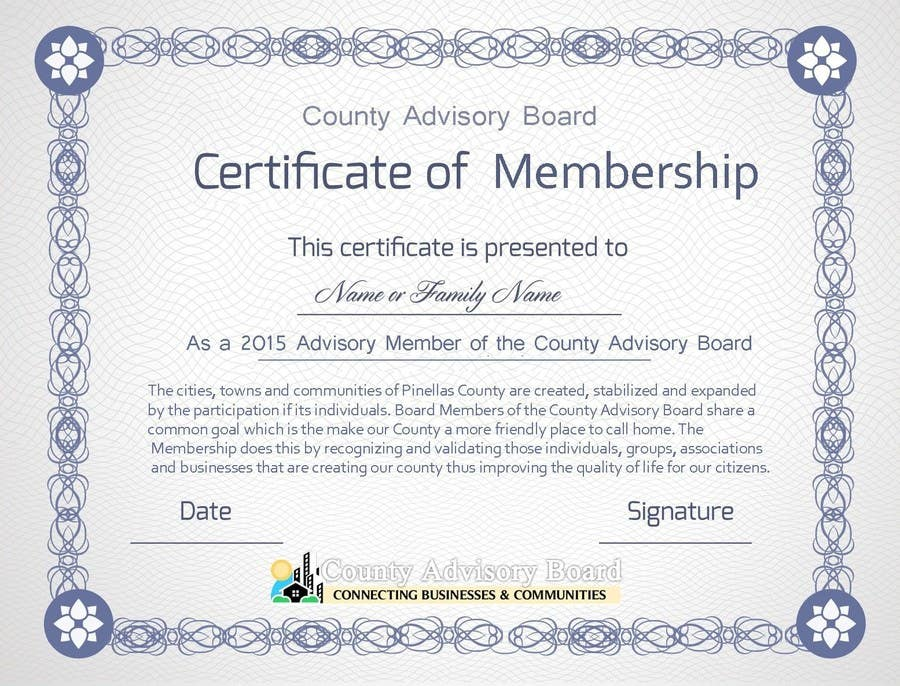 Entry 15 By Tanzeelhussain For Design A Membership Certificate