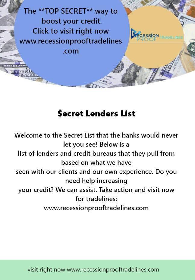Penyertaan Peraduan #                                        8                                      untuk                                         Build me a Secret Lenders List