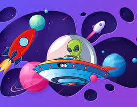 Nro 58 kilpailuun Beautiful cartoon outer space theme illustration designed for Children helmets käyttäjältä yuliyayulli