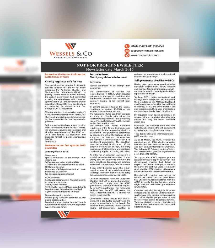 Kilpailutyö #5 kilpailussa Design a Newsletter for an Audit firm