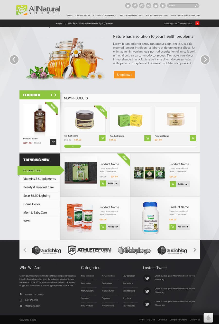 Contest Entry #3 for Design a Website Mockup for Natural Products E-Commerce Site