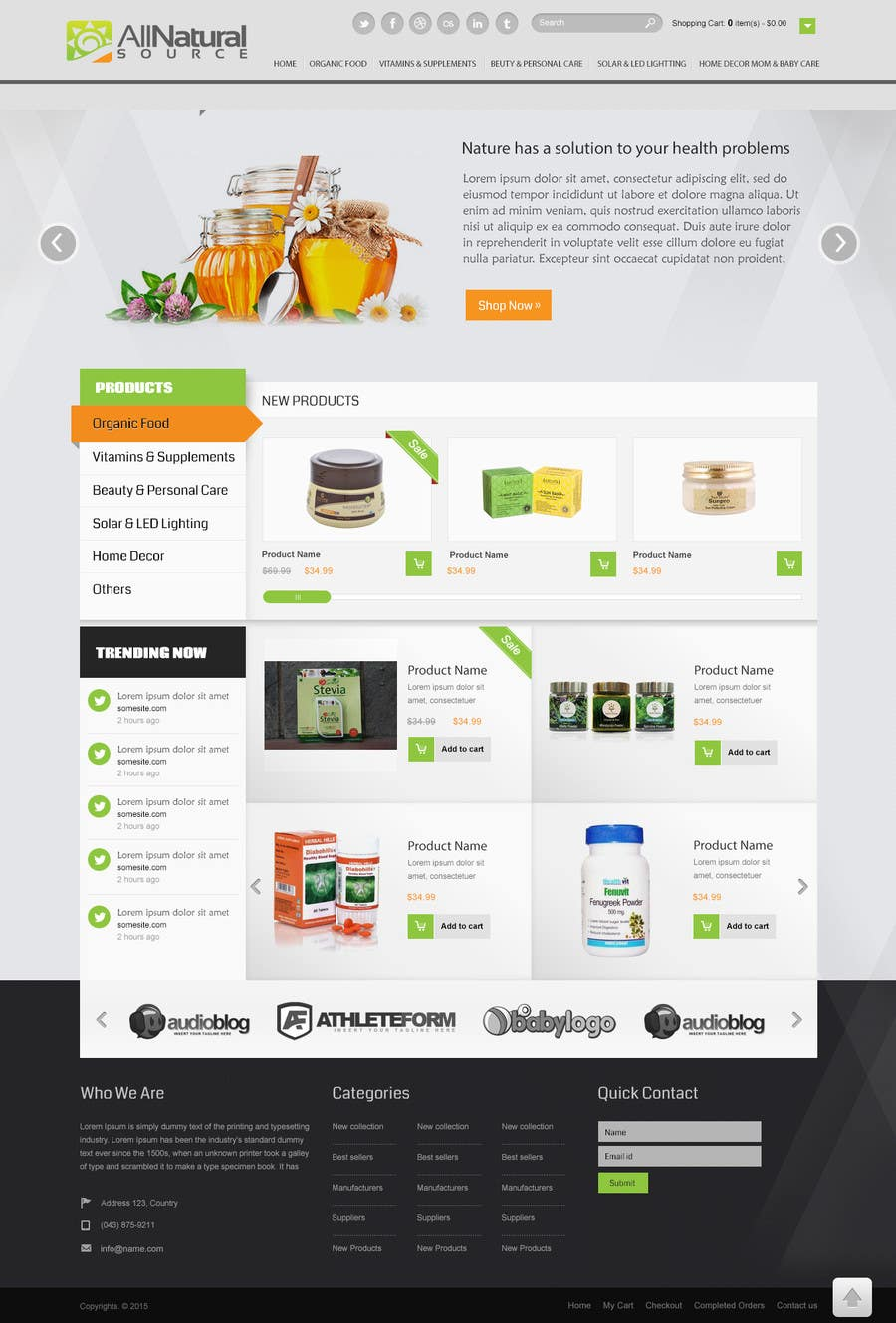 Contest Entry #                                        25                                      for                                         Design a Website Mockup for Natural Products E-Commerce Site