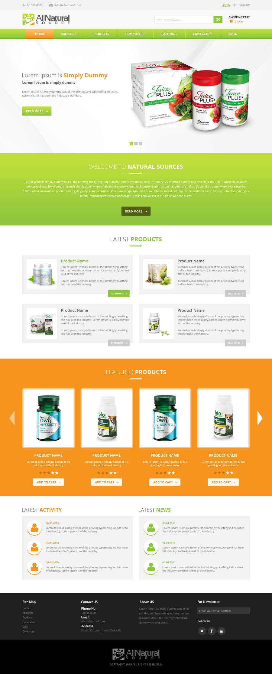 Contest Entry #                                        9                                      for                                         Design a Website Mockup for Natural Products E-Commerce Site
