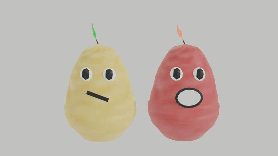 Kilpailutyö #                                        18                                      kilpailussa                                         Two 2D potatoes with faces for use in a mobile UNITY game. Export through BLENDER.